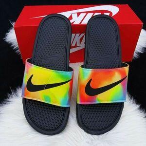 NIKE Benassi JDI PRINT Slide Sandals Tie Dye